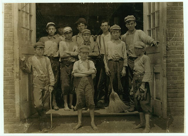 Some of the boys working in the Saxon Mill.  Location: Spartanburg, South Carolina.