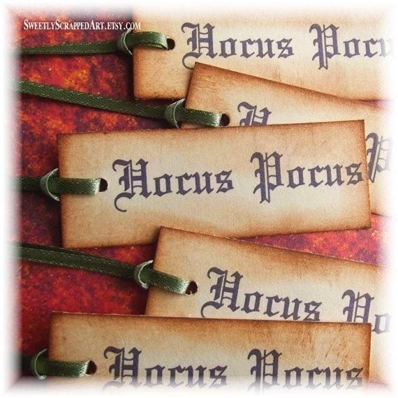 Halloween Tags, Hocus Pocus Magic - Hand Aged, Vintage Inspired, Green Satin RIbbon