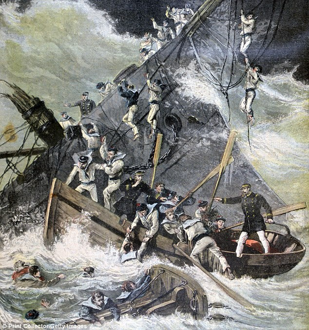 Chaos: As the ship sank, passengers and crew battled each other to fit into an overloaded lifeboat