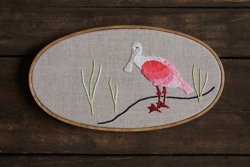 Hand Embroidery: Roseate Spoonbill