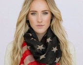 Vintage American Flag Infinity Scarf Tattered Patriotic  July 4th Scarves Red White and Blue Infinity Flag Scarf Wear - ThreeBirdNest
