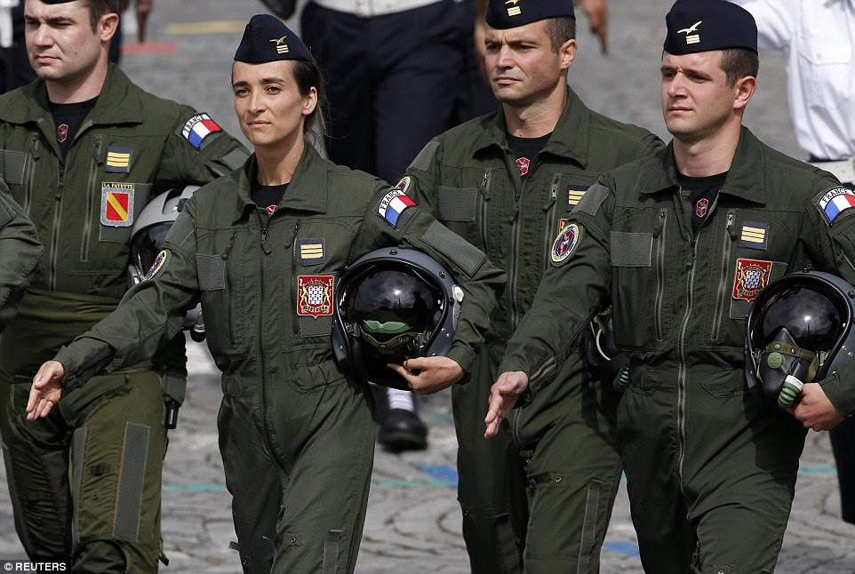 Despite using 50 aircraft during the parade the French air force sent these fast-jet pilots to march alongside their army and navy colleagues