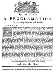 Image result for American colonies were proclaimed to be in a state of open rebellion by England's King George III.