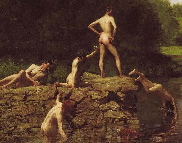 Detail of swimming thomas eakins