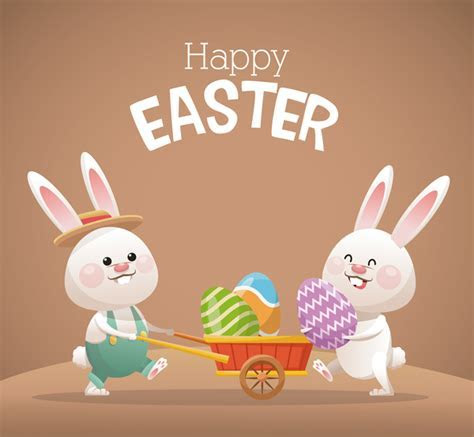 Happy easter card with cartoon bunny vector 13 free download
