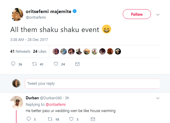 NIGERIANS GT NO CHILL, FANS COME FOR ORITSEFEMI AFTER HE SAYS HIS WEDDING BEATS ALL 2017 SHOWS