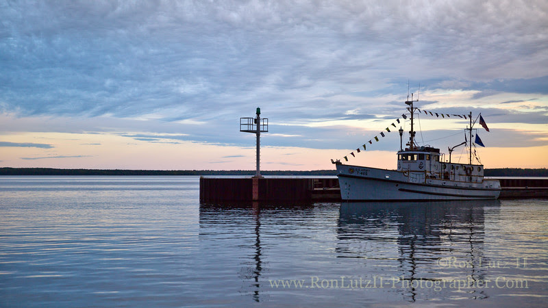 ship, boat, harbor, Bayfield, ferry, Madeline, Island, sunset