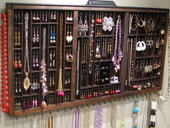 I just purchased this jewelry display/storage piece for our bedroom and I am so excited to get it! There are even slots for stud earrings. Oh, so excited!