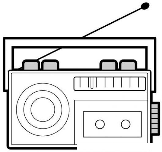 Dibujo De Radiobrabadora Con Casetera Para Pintar Y Colorear