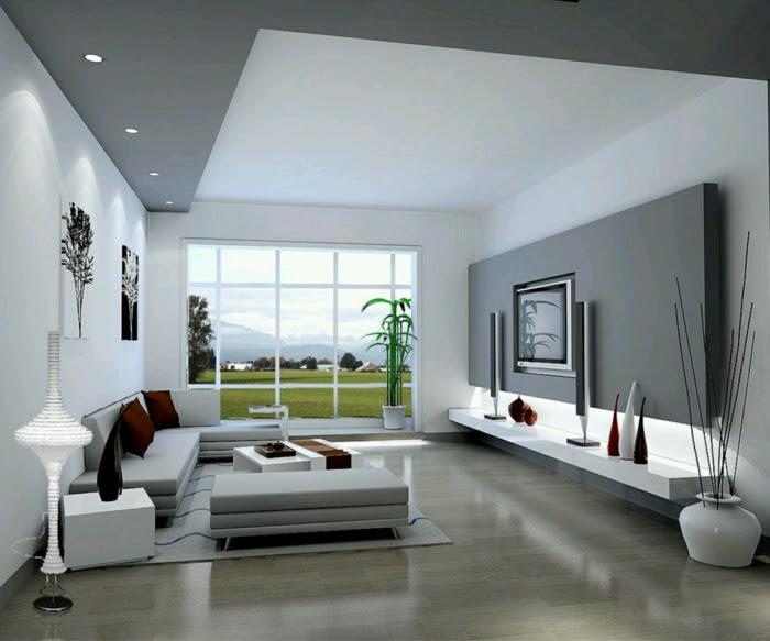 modernes wohnzimmer einrichten graue akzentwand einbauleuchten