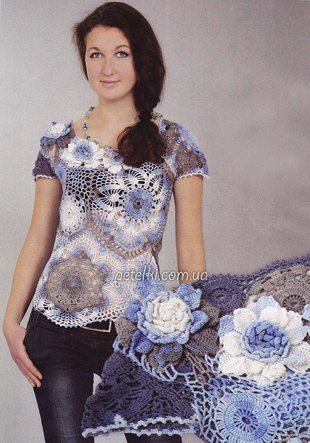 Calados blusa crochet.  Descripción de tejer, diagramas detallados