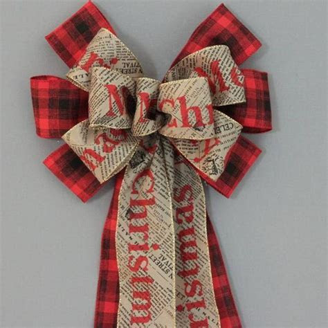 Merry Christmas Newsprint Red Black Plaid Bow   10