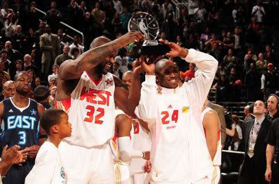 Co-MVPs Shaquille O'Neal and Kobe Bryant of the Western Conference hold up the trophy after the West defeated the East in the 58th NBA All-Star Game, on February 15, 2009 in Phoenix, Arizona.