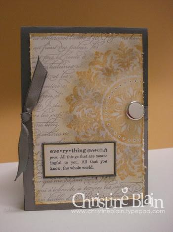 Saffron, gray Medallion card