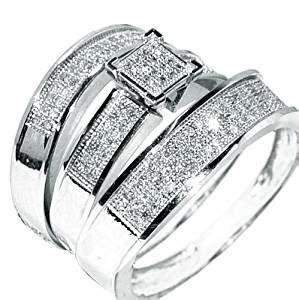 White Gold Trio Wedding Set Mens Womens Wedding Rings