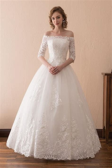 Ball Gown Off The Shoulder Tulle Lace Floor Length Wedding