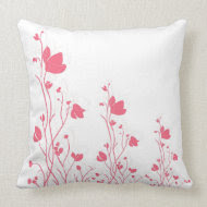 Pink Floral with Vines on White throwpillow
