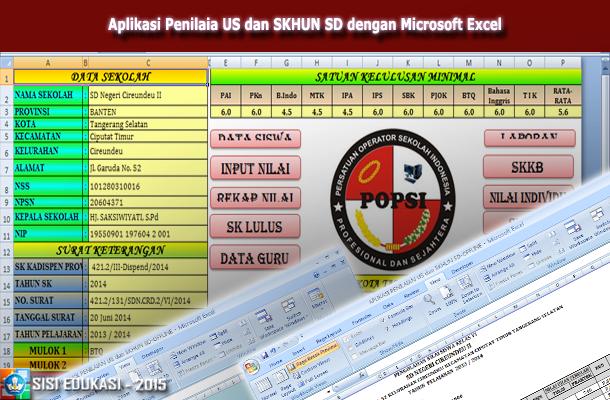 Aplikasi Penilaian US dan SKHUN SD dengan Microsoft Excel