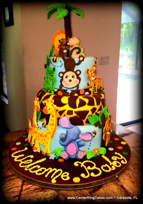 Jungle Themed Baby Shower Cake by www.centerringcakes.com