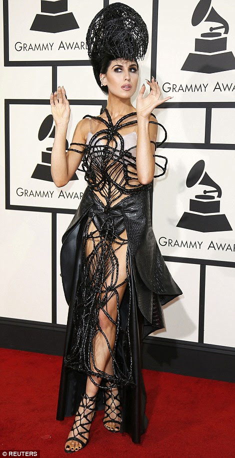 Caged in: Z LaLa wore what looked like a black spider's web around her torso