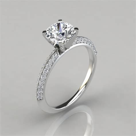 Knife Edge Pave Cushion Cut Engagement Ring   Forever