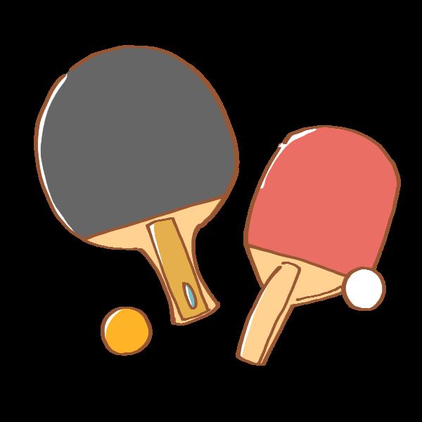 卓球のラケット2種と2色のピンポン玉のイラスト かわいいフリー素材が