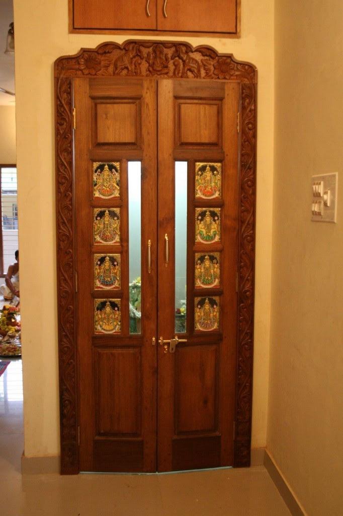 plywood door design for pooja room  | 500 x 500