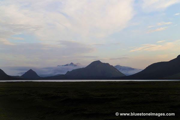 01M-0425a TEMP The View South Over Alftavatn to the Myrdalsjokull and Eyjafallajokull Glaciers Iceland.