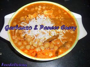 Garbanzo and paneer curry
