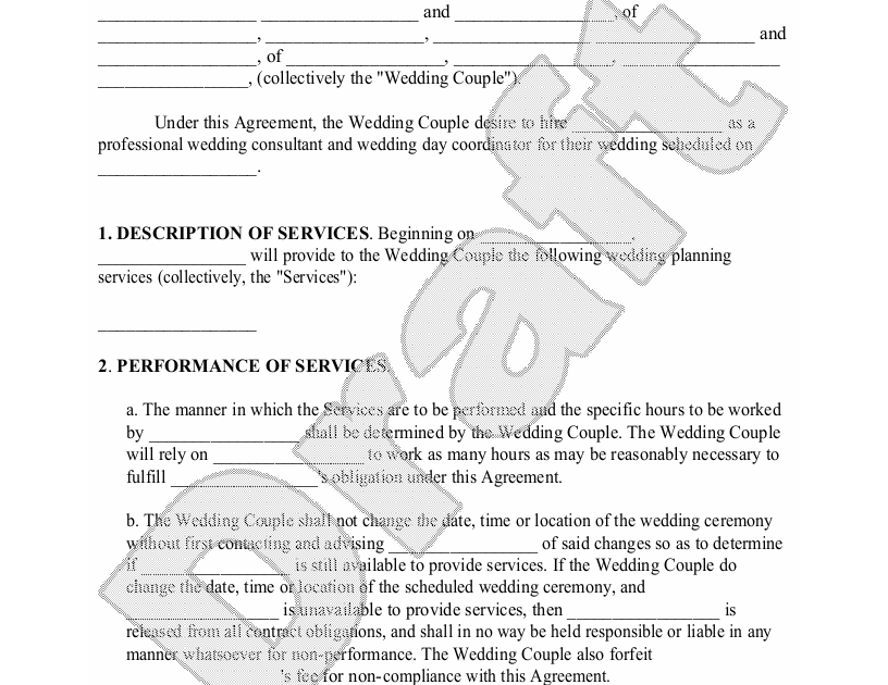 wedding planner  wedding planner contract agreement