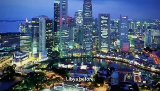 A screenshot of the Cambodian Human Rights Committee's video on human rights that labelled the Singaporean skyline as Libya before civil war. YouTube
