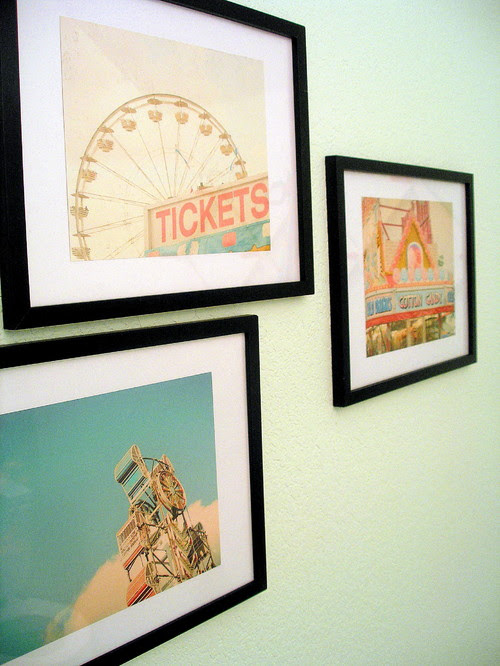 Framed photos eclectic powder room