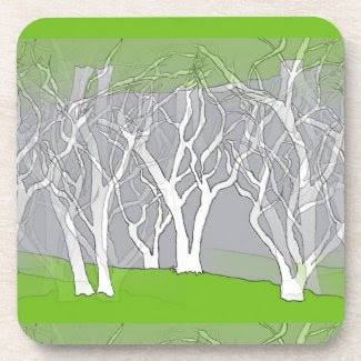 White Trees Design on Coasters (set of 6)