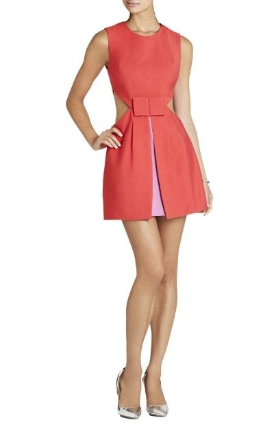 BCBGMAXAZRIA Kathryne Side Cutout Bow-Front Dress