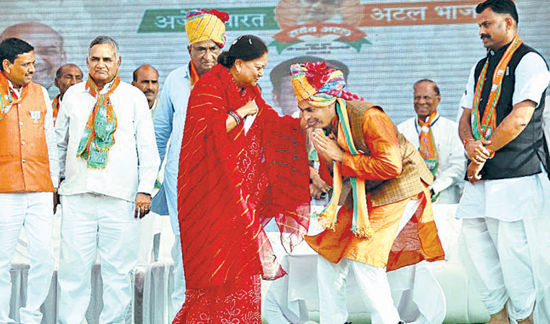 """Vasundhara Raje (C), Rajasthan's Chief Minister and a charismatic """"Maharani"""" or female Maharaja swept to power in a landslide in 2013."""