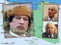 Εγκατέλειψαν τον Μουαμάρ Καντάφι (αριστερά) ο υπουργός Εξωτερικών Μούσα Κούσα (πάνω δεξιά) και ο πρώην υπ. Εξωτερικών της χώρας, Αλί Αμπντουσάλμ Τρέκι (κάτω δεξιά)