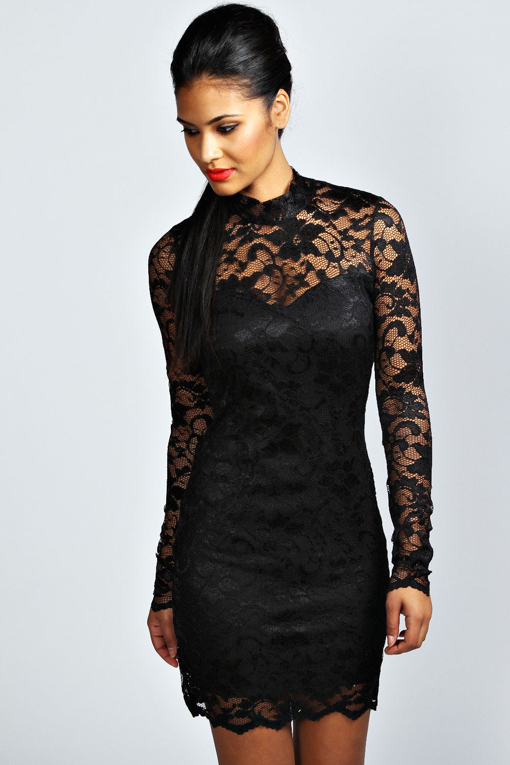 Queen west high neck bodycon dress long sleeve sizes for