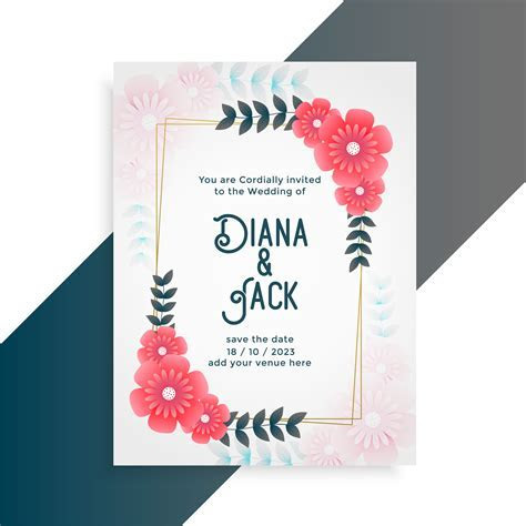 flower wedding card invitation template   Download Free