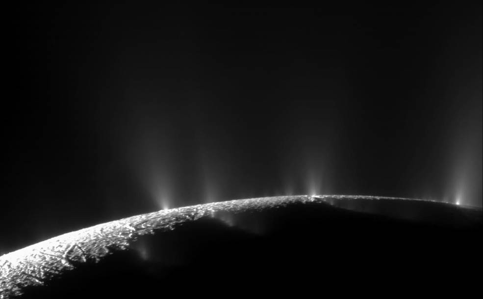 Saturn's moon Enceladus in November 2009