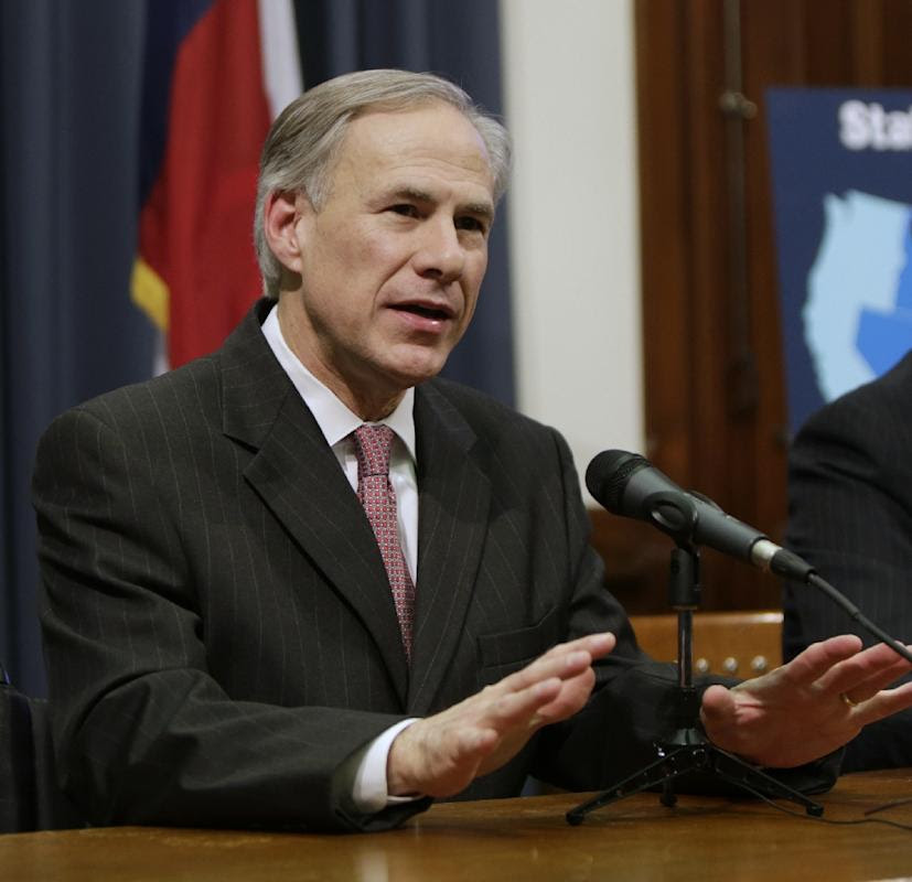 Texas Governor Greg Abbott speaks at a press conference in Austin, Texas, on February 18, 2015