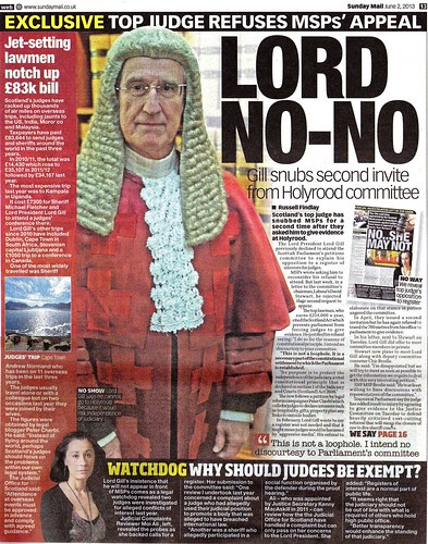 LORD NO NO - Scotland's top Judge refuses second Parliament invite over Register of Interests - Sunday Mail 2 June 2013