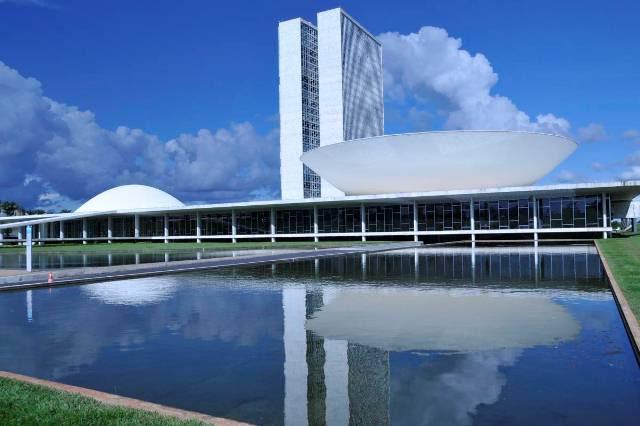 Externa Prédio do Congresso Nacional Cúpula da Câmara e do Senado Foto Rodolfo Stuckert Data 07-03-2009