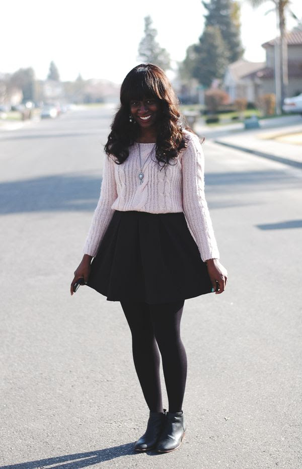 sweater over a dress with tights and booties