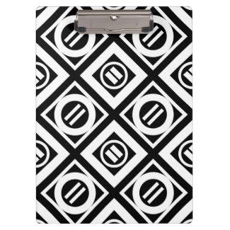 White Equal Sign Geometric Pattern on Black Clipboard