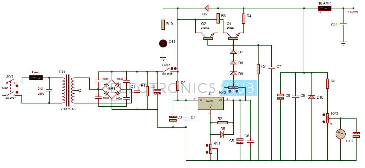 My World My Rules 0 28v 6 8a Power Supply Circuit Using