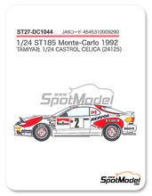 Calcas 1/24 Studio27 - Toyota Celica Marlboro Nº 2 - Carlos Sainz + Luis Moya, Armin Schwarz + Arne Hertz, Markku Alen + Ilkka Kibimaki - Rally de Montecarlo 1992 - para usar con kit de Tamiya TAM24125