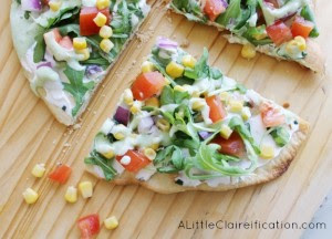Veggie Flatbread With Cilantro Lime Dressing