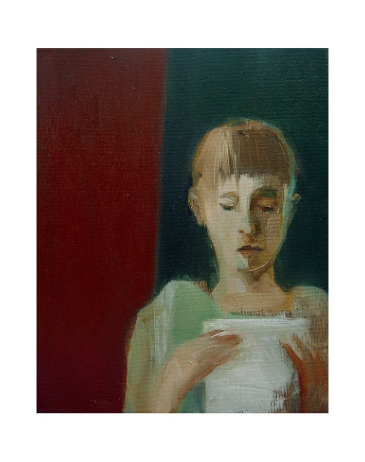 """SALE original painting,  figurative, GIRL with a LETTER, oil, canvas, 8"""" x 10"""""""