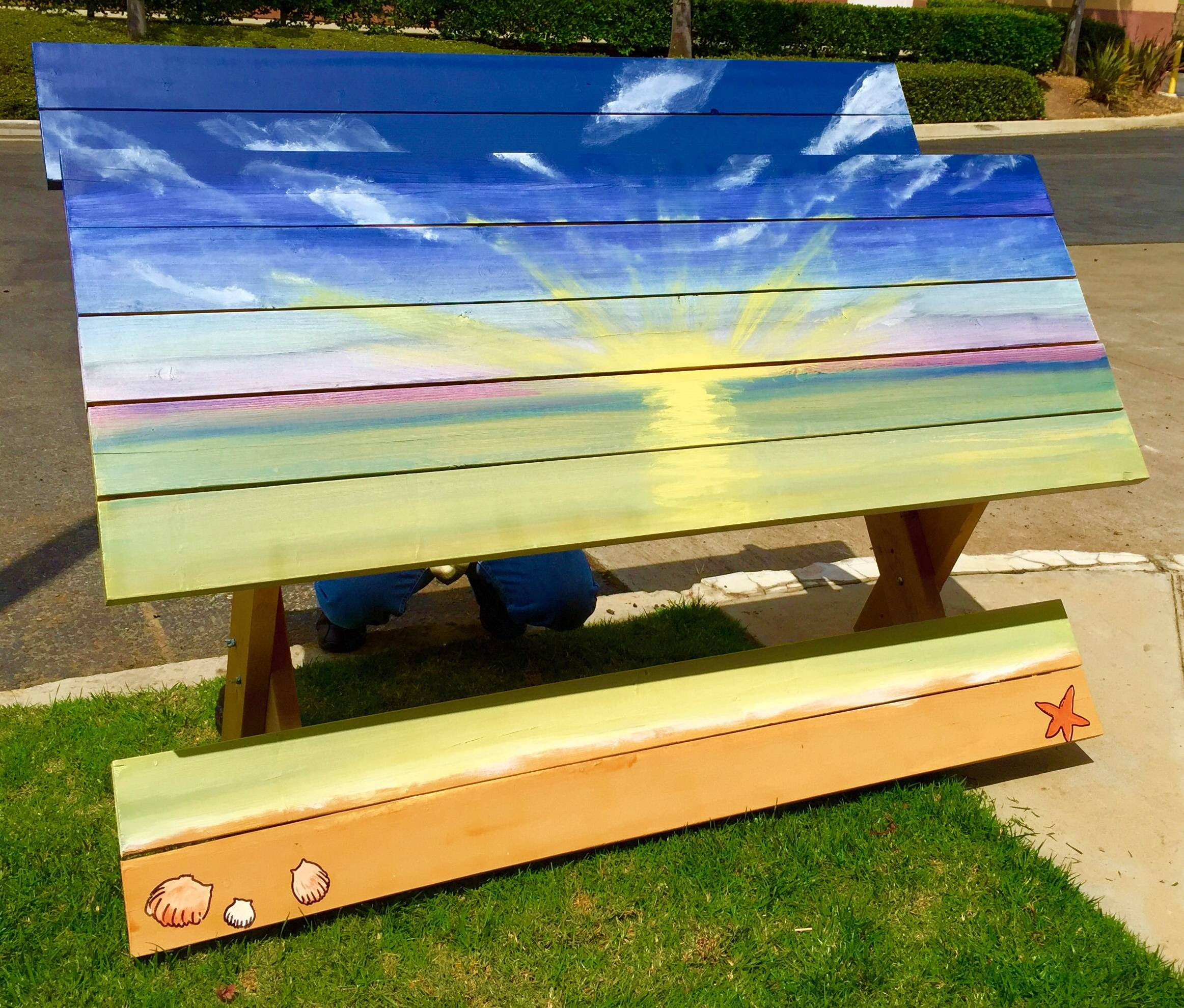 DIY Custom Painted Picnic Table
