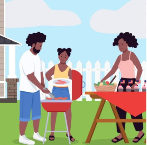 Family grilling outside.